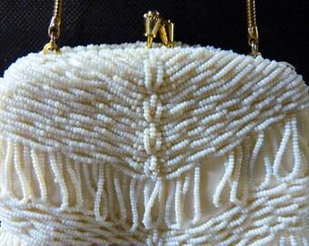 Purse Walborg Beaded Evening Bag Clutch White Beads Vintage Purse