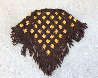 70s vintage handmade crochet brown mustard knitted shawl