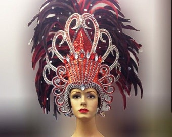 Vegas Showgirl Pageant Red Feather Diamond Crystal Headdress