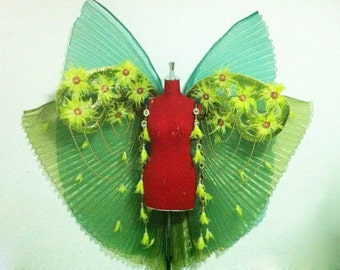 Vegas Showgirl Drag Colorful Butterfly Backpiece