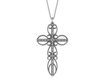 Unique Diamond Cross Pendant Necklace in 14k White Yellow Rose Gold 0.27ct tw | made to order for you within 5-7 business days