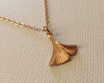 Rose Gold Ginkgo Necklace -Ginkgo Necklace in Rose Gold -Tiny Rose Gold Ginkgo Necklace