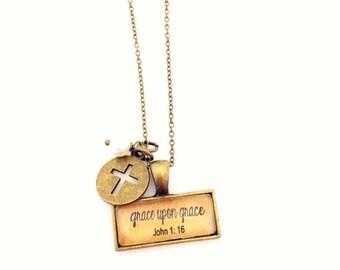 Grace Upon Grace.  John 1:16 Necklace.