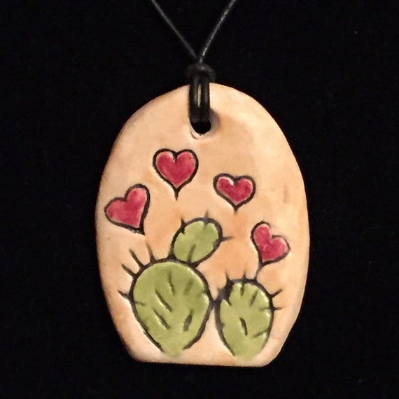 Cactus Hearts Hand Carved Porcelein Pendant, on Leather Cord