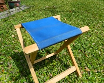 Vintage Camp Stool Folding Stool Wood and Canvas Art Studio Retro Chair