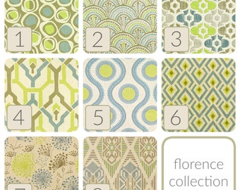Green Yellow Blue Curtain Panels. All Sizes. Florence Collection. Decorative Window Treatments. Patterned Drapery Curtains.