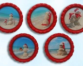 christmas, snowman, beach, holiday, bottle cap magnets