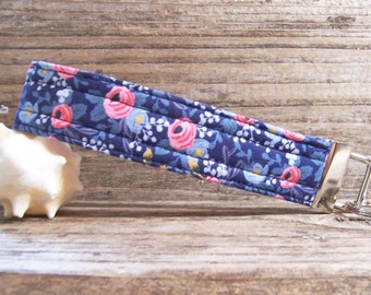 romantic blue and pink flower fabric key fob  , key ring in a cute fabric , key fob , key ring , wrist strap for keys or bag,  blue key fob.