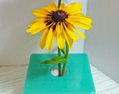 Fused Glass Ikebana Vase Light Blue Iridescent Home Decor Flowers Bowl Table Vase Bud Vase Gifts Under 50 Dollars Gifts for Her or Him