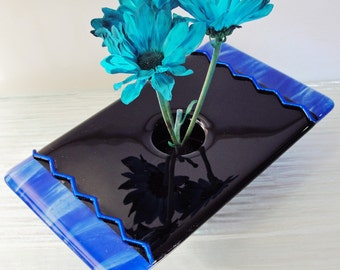 Fused Glass Ikebana Vase Blue and Black Glass Home Decor Dichroic Glass Flower Bud Vase Gifts for Him Gifts for Her Under 75 Dollars