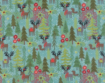 Holiday Reindeer and Forest Fabric in Teal - Juniper Berry by Basicgrey from Moda - 1/2 Yard