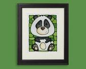 Panda Bear Original Painting - Handmade Acrylic Painting - Zoo Animal Art - 15 x 19 inch frame size - Hand Painted by artist Kathy Lycka