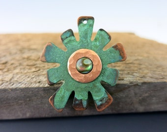 Verdigris Copper Splat Pendant, 38mm OD, Abalone Shell,  Ready to Ship