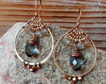 Turmoil. Hammered Artisan Boho Gold Brass Drop Earrings with Wire Wrapped Gold Pearls, Golden Quartz, Smoky Blue Quartz Gemstones. Boho Gold