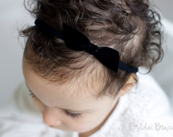 Velvet Bow - Emily Black Velvet Bow Headband -  Emily Small Black Velvet Bow Handmade Baby Headband - Baby to Adult Headband