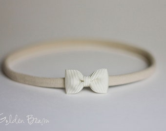 Grosgrain Little Ivory Baby Bow - Little Plain Grosgrain Ivory Bow Handmade Headband - Fits From Babies to Adults