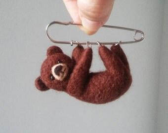 Little Hanging Bear, Animal Brooch, Felted Bear