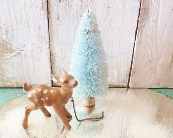 """Blue 4"""" Bottlebrush Tree ~ Christmas ~ Cottage Shabby Chic Style ~ Putz House"""