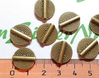 12 pcs per pack 14mm Rope Coin Beads antique Bronze Finish Lead Free Pewter
