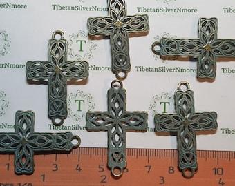 8 pcs per pack 41x26mm Filigree Sideways Cross link Patina Antique Bronze Lead Free Pewter