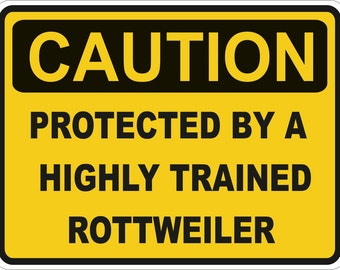 Caution Protected by a Rottweiler Warning Sticker for Laptop Book Fridge Guitar Motorcycle Helmet ToolBox Door PC Boat