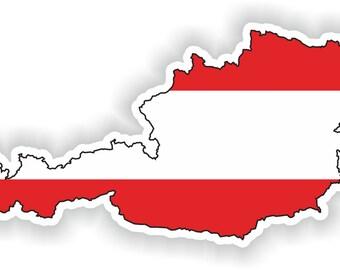 Austria Map Flag Silhouette Sticker for Laptop Book Fridge Guitar Motorcycle Helmet ToolBox Door PC Boat
