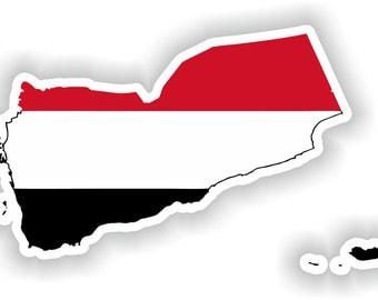 Yemen Map Flag Silhouette Sticker for Laptop Book Fridge Guitar Motorcycle Helmet ToolBox Door PC Boat