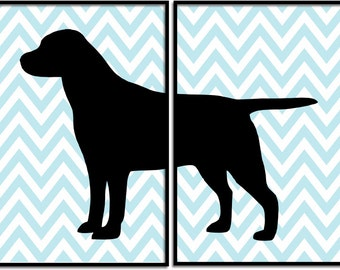 Labrador Retriver Print, Lab art print, dog Nursery Art, Chevron, Nursery Wall Decor, Kids room art