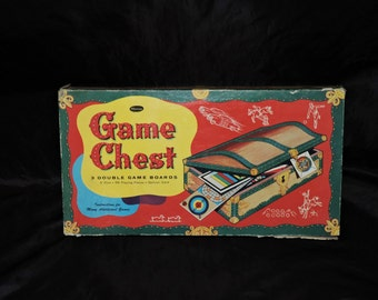 Vintage 1950s Whitman Game Chest 3 Double Game Boards Spinner Instructions Art Deco