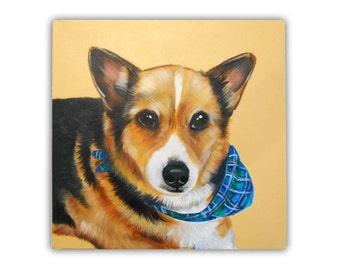 12x12x0.75inch Custom Dog Portrait / Custom Pet Portrait - 1 Pet - Close-Up Solid background Welsh Corgi Cardigan Welshie  Pembroke