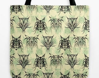Cats, Black Cats, Tribal, Tattoo, faces, Kitten, Kitty, TRIBAL Cats Tote Bag