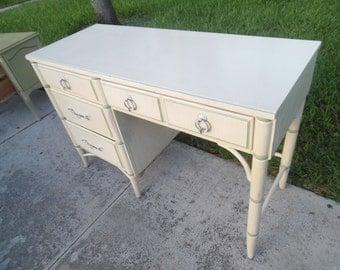 BAMBOO-TI-FUL / Thomasville Faux Bamboo Desk / Corner Detailing / Original Hardware / Palm Beach Chic