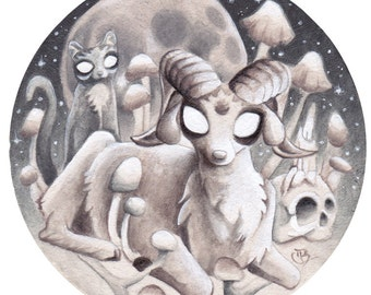 """Satan Goat Cat Kitty Skull Occult Drawing Painting, """"Of A Thousand Young"""""""