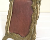 Art Nouveau Picture Frame - Brass Picture Frame - Art Nouveau Woman in Dress - Brass Frame