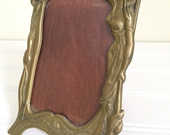 Art Nouveau Picture Frame - Brass Picture Frame - Art Nouveau Woman in Dress - Brass Frame