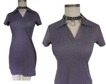 90's Express Tricot Plaid Checkered Collar Dress Grunge