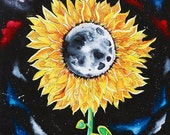 Moonflowers, sunflower painting, moon, space, galaxies, stars, wall art, home decor, moon flower, original painting, outerspace, trippy