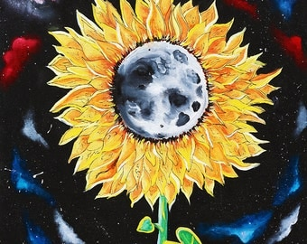 Moonflowers, sunflower poster, moon, space, galaxies, stars, wall art, home decor, moon flower, original painting, outer space, trippy
