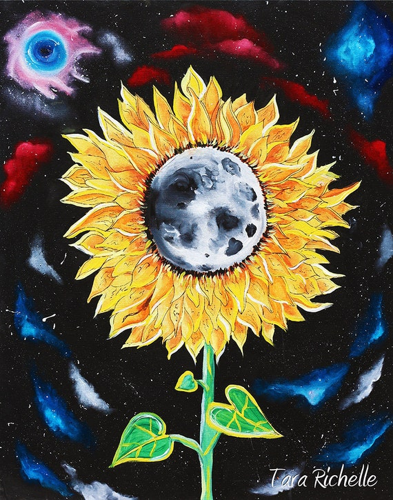 Moonflowers sunflower poster moon space galaxies stars