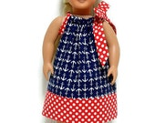 18 inch Doll Dress Pillowcase Nautical Navy Blue Anchors Red Polka Dot 15 Inch Doll Clothes 15 Inch Doll Clothes