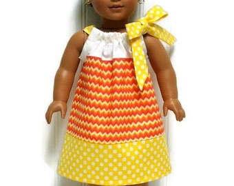 18 inch Doll Clothes Halloween Candy Corn Pillowcase Dress 15 inch Doll Clothes