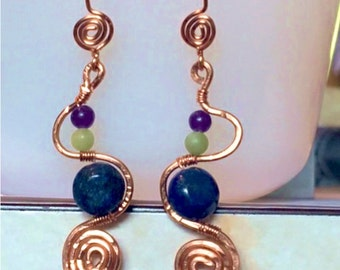 Serpent of Protection Pierced Earrings Lapis Lazuli, Jade and Amethyst in Copper