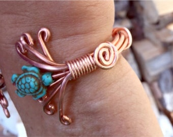 """Copper """"Under the Sea"""" Cuff Bracelet Handmade Wire Wrapped Abalone & Howlite"""