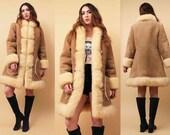 On Sale 60s 70s Vtg Soft Genuine SUEDE & SHEARLING Gold Chain Buckle Mod Winter Jacket / Super Plush MOD Penny Lane Boho Couture / Sm Med