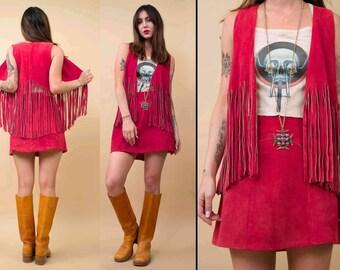 70s Vtg Genuine Suede Leather Hot Pink Fringe Vest & Mini Skirt Matching Set / DEADSTOCK Mod Hippie GoGo Biker Rocker / Medium - Large