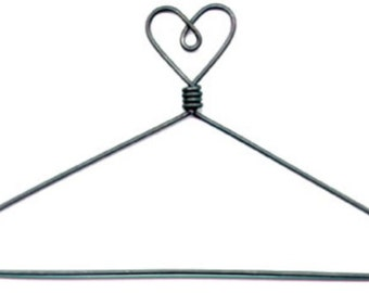 Set of six 7.5 inch wire doll-quilt- needlework hanger-- HEART top OPEN center- great for doll clothes