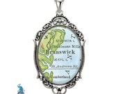 Vintage Map Pendant Oval Filigree City Town Coastal Area Brunswick Georgia Antique Map Necklace State of GA Map Jewelry Destination Travel