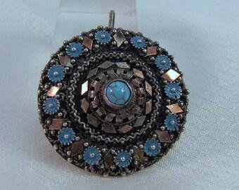 Victorian 800 Silver Enameled Circle Pendant/Brooch c1890