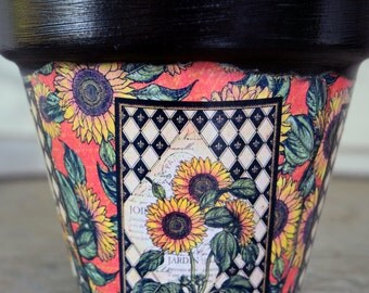 French Country Decorative Decoupage Flower Pot