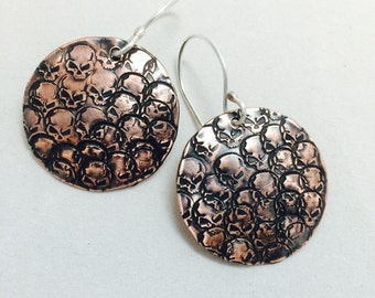 Copper Skully Earrings